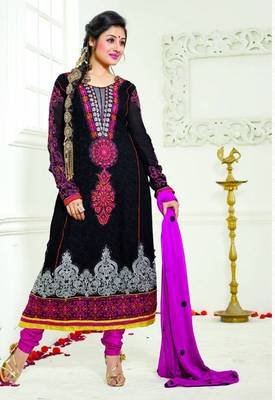 BLACK EMBROIDERED GEORGETTE ANARKALI SUITS