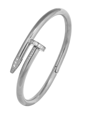 Nail Gothic Cz Stainless Steel Rhodium Openable Cuff Kada Bangle Bracelet
