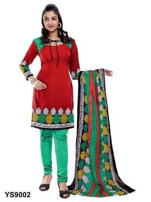 Riti Riwaz Cotton Red Designer Printed Salwar Suit - YS9002