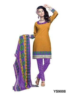 Riti Riwaz Cotton Orange Designer Printed Salwar Suit - YS9008