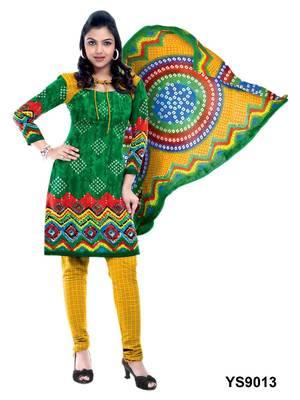 Riti Riwaz Cotton Green Designer Printed Salwar Suit - YS9013
