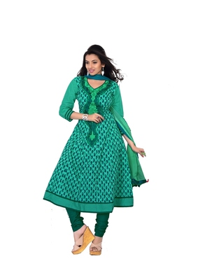 NeelFab Sea Green Cotton Anarkali Suit
