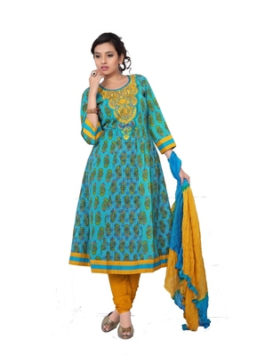 NeelFab Sky Blue-Yellow Cotton Anarkali Suit