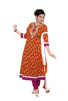 NeelFab Orange-Magenta Cotton Anarkali Suit