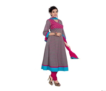 NeelFab Sky Blue-Magenta Cotton Anarkali Suit