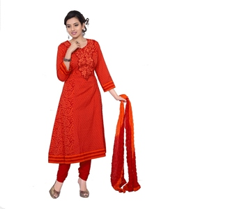 NeelFab Red Cotton Anarkali Suit