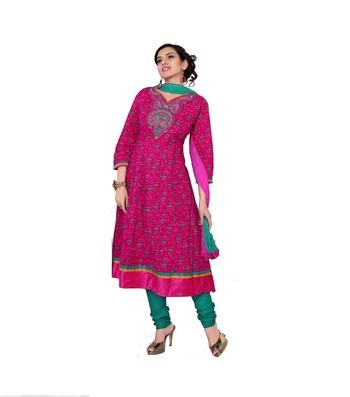 NeelFab Pink Cotton Anarkali Suit