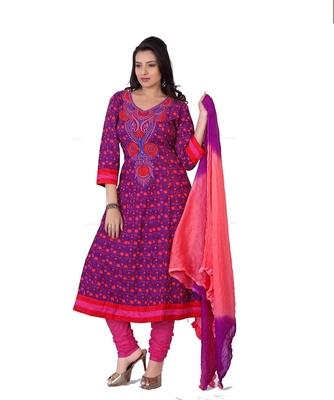 NeelFab Magenta-Pink Cotton Anarkali Suit