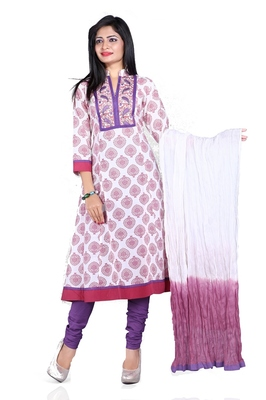 NeelFab Light Magenta Cotton Anarkali Suit