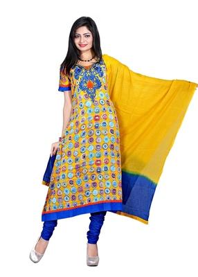 NeelFab Yellow Cotton Anarkali Suit