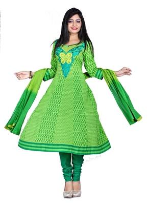 NeelFab Green Cotton Anarkali Suit