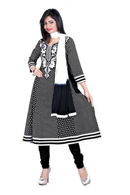 NeelFab Black Cotton Anarkali Suit