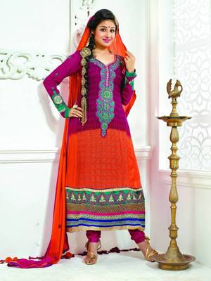 ORANGE AND PINK SEMI GEORGETTE ANARKALI SUIT