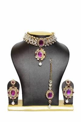 Tranz Chocker Kundan Jewelry Set in Purple with Pearls