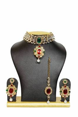 Tranz Chocker Kundan Jewelry Set in Red and Green with Pearls