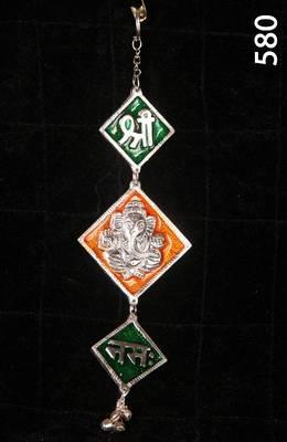 Shree Ganesha Namah. Wall/Car Hanging in enamel and Silver coated metal. MuHeNeRa presents Athish collection 580