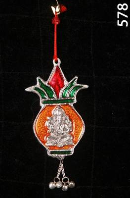 Shree Ganesha in kalash.Wall/Car Hanging in enamel and Silver coated metal. MuHeNeRa presents Athish collection 578