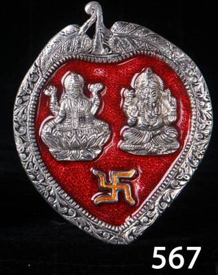 Laxmi Ganesha Wall Hanging in enamel and Silver coated metal. MuHeNeRa presents Athish collection 567re