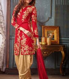 Buy Red silk embroidered semi stitiched salwar with dupatta salwars-and-churidar online