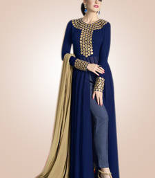 Buy Blue georgette embroidered semi stitiched salwar with dupatta salwars-and-churidar online