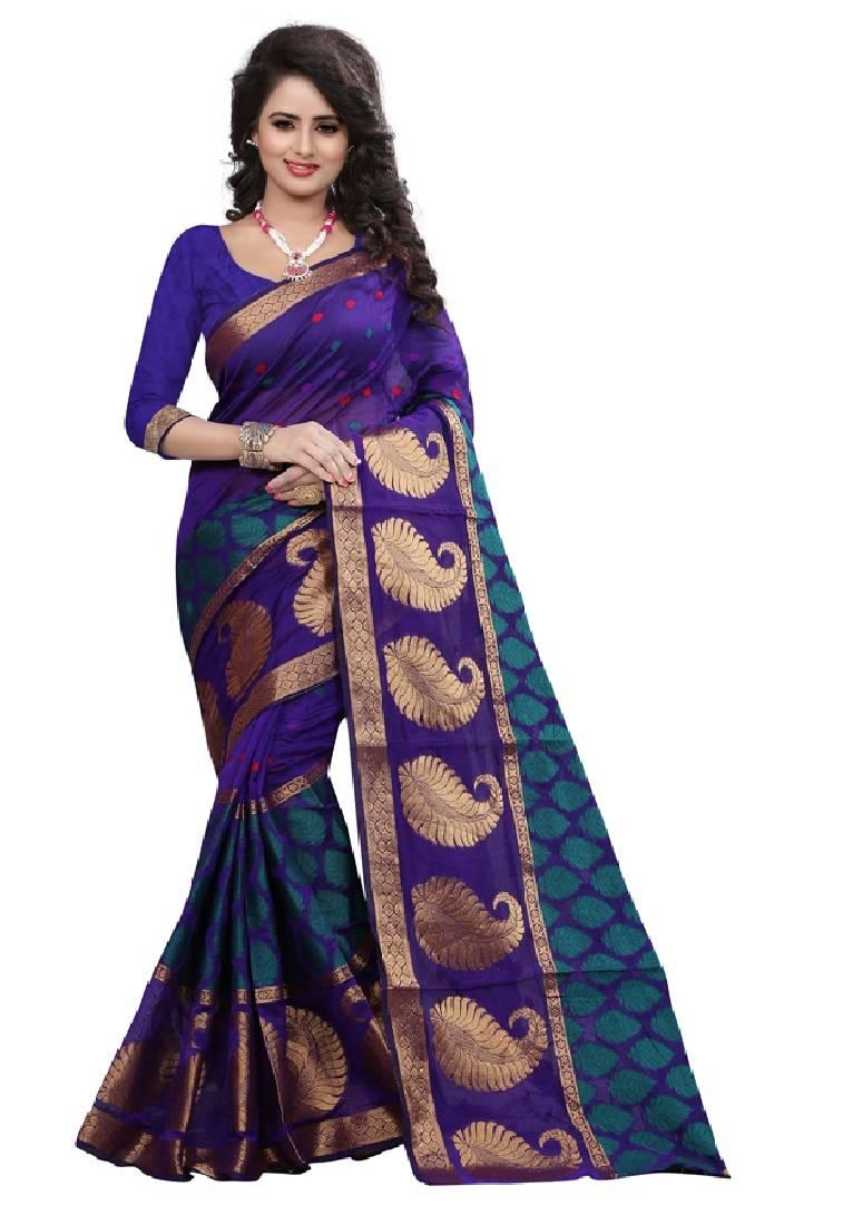 Buy Multicolor Plain Cotton Silk Saree With Blouse Online