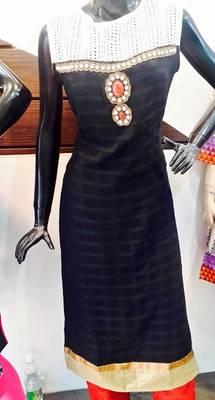 designer black kameej with churidar