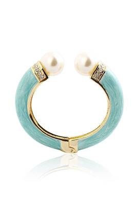 Just Women Pearl Embellished Turquoise Hand Painted  Kada
