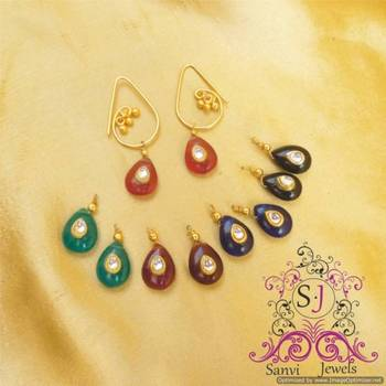 Changable kundan drops earring
