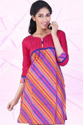 Cerise Pink and Lemon Yellow Cotton Printed Casual and Party Kurti