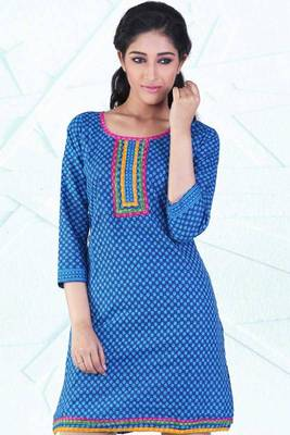 Denim Blue Cotton Printed Casual and Party Kurti