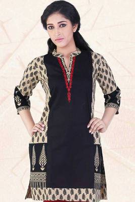 Peach Yellow and Black Cotton Printed Casual and Party Kurti