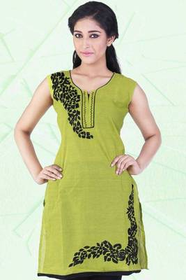 Pear Green and Black Cotton Embroidered Party and Festival Kurti