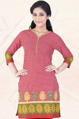 Rose-madder Red and Old-gold Yellow Cotton Printed Party Kurti
