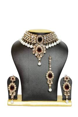 Stunning Close Neck Kundan Necklace Set in Maroon with Pearls