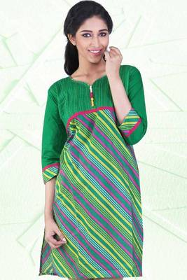 Sea Green and Lemon Yellow Cotton Printed Casual and Party Kurti