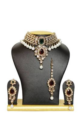 Stunning Close Neck Kundan Necklace Set in Maroon and Green with Pearls
