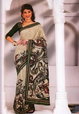 Saree Cambric Cotton Designer Prints With Blouse Piece D.No D1032