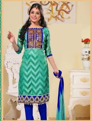 Dazzling Light Green and Blue Salwar Kameez