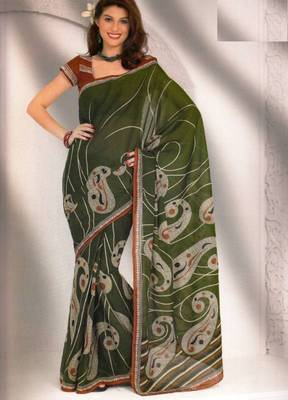 Saree Cambric Cotton Designer Prints With Blouse Piece D.No D1042