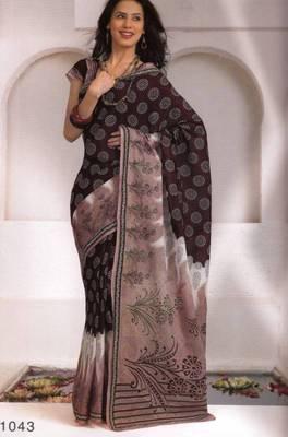 Saree Cambric Cotton Designer Prints With Blouse Piece D.No D1043
