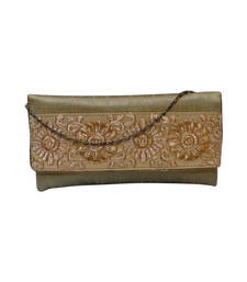 Buy Raw Silk Clutch with Royal Gold Motif Work (Gold) clutch online