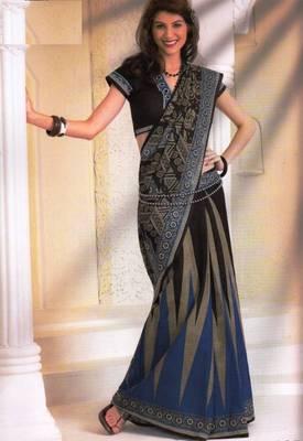 Saree Cambric Cotton Designer Prints With Blouse Piece D.No D1051