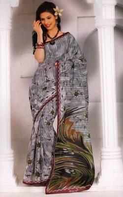 Saree Cambric Cotton Designer Prints With Blouse Piece D.No D1055