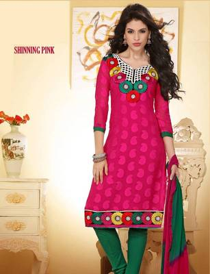 Ravishing  Pink and Green Salwar Kameez