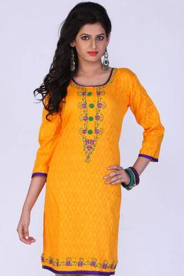 Amber Yellow Cotton Embroidered Party and Festival Kurti