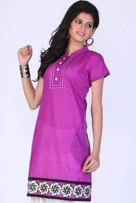 Amethyst Violet Cotton Embroidered Party and Festival Kurti
