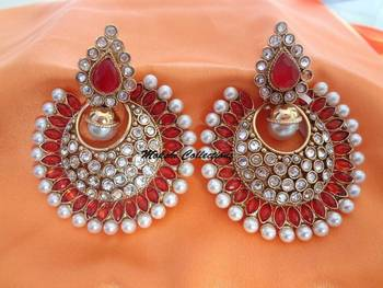 Gorgeous Orange & pearl Studded Earrings