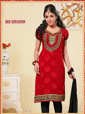 Melodic  Red and Black Salwar Kameez
