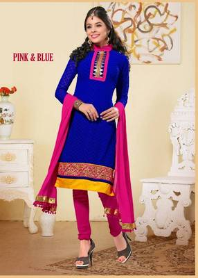 Adorable Navy Blue and Pink Salwar Kameez