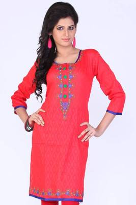 Coral Red Cotton Embroidered Party and Festival Kurti